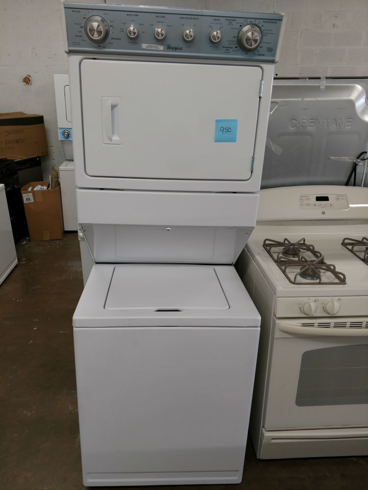 white stackable washer dryer