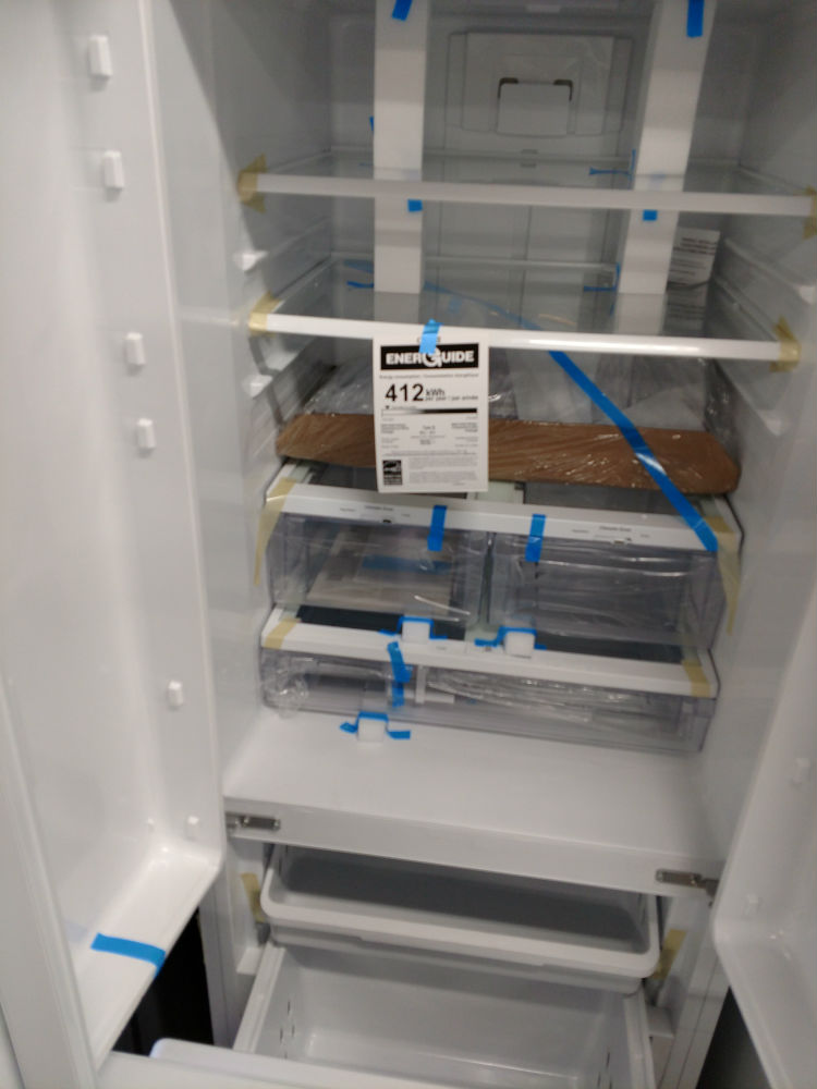 White three door fridge interior